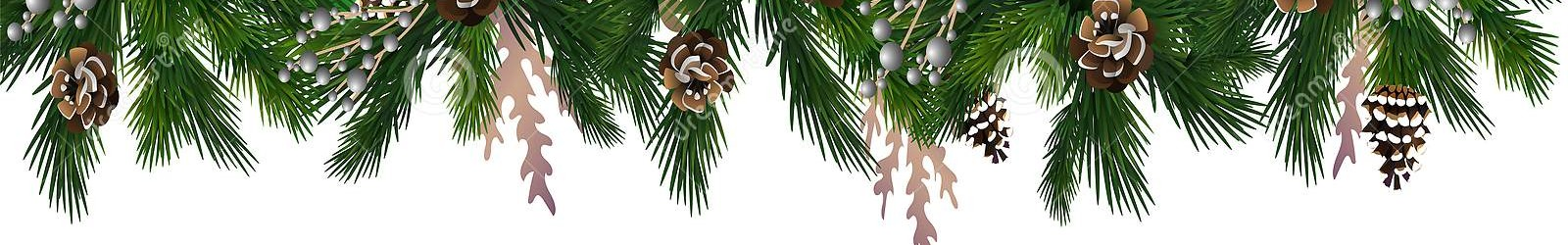 horizontal banner christmas tree garland pine cones hanging gold red balls ribbons great flyers posters 133394921
